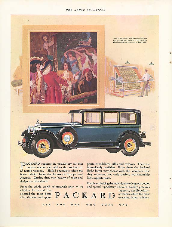 Packard requires in upholstery . . . 4-door Sedan ad 1928