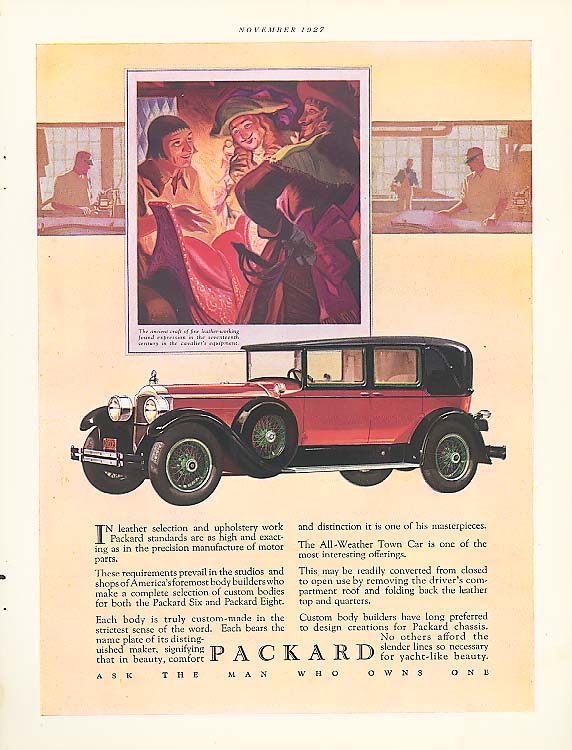 In leather selection - Packard 4-dr Sedan ad 1928