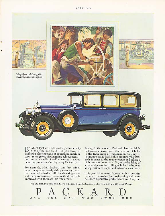 Back of ackowledged leadership Packard 4-dr ad 1928