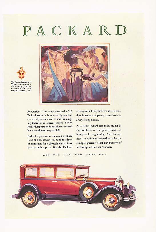 Reputation is most treasured Packard 4-dr Sedan ad 1929