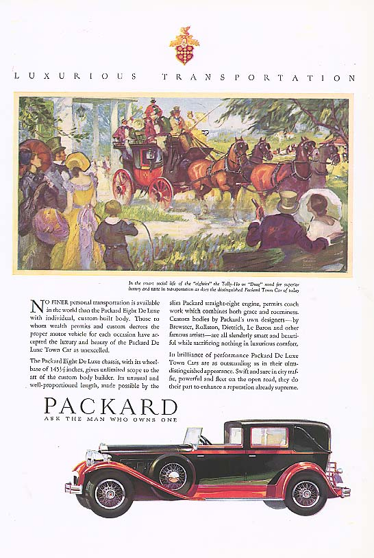 Image for No finer personal transport Packard Town Car ad 1930