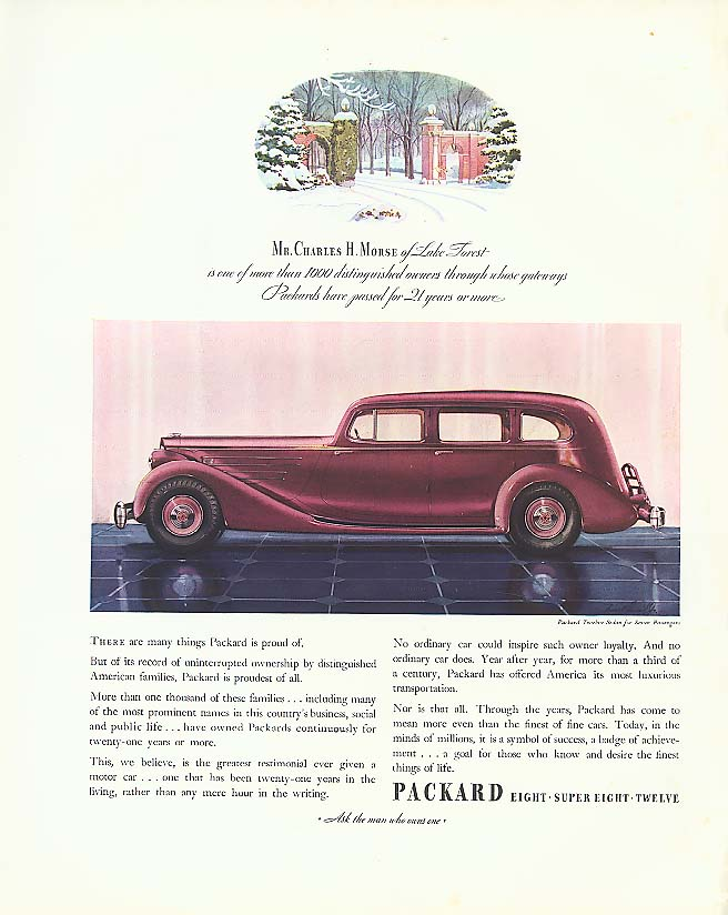 Image for Mr Charles H Morse - Packard 12 Sedan ad 1935