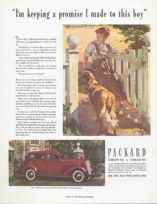 Image for I'm keeping a promise Packard 6 Touring Sedan ad 1937