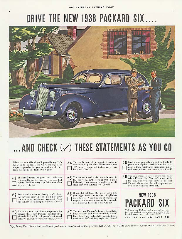 Image for Check these statements - Packard 6 Sedan ad 1938