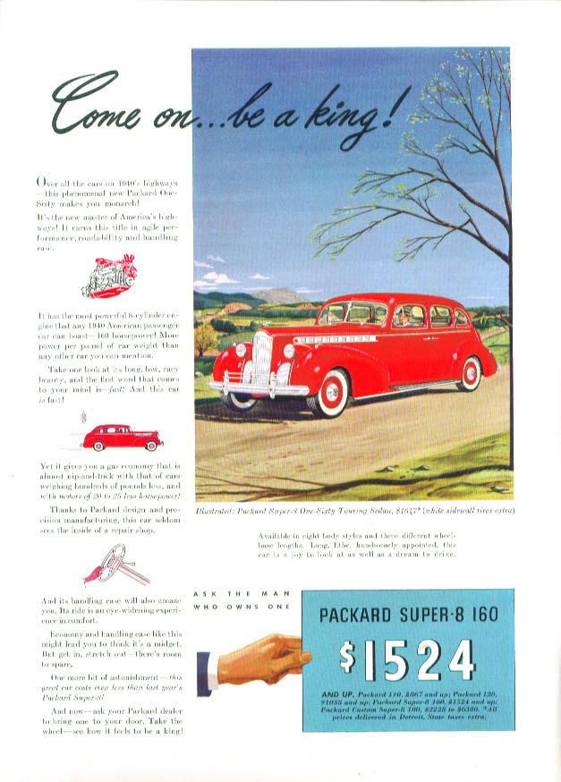 Come on . . . be a king! Packard Super-8 160 ad 1940