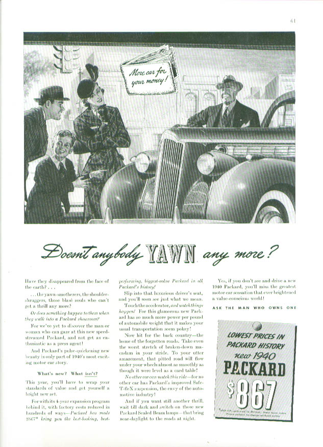 Image for Doesnt anybody yawn any more? Packard ad 1940