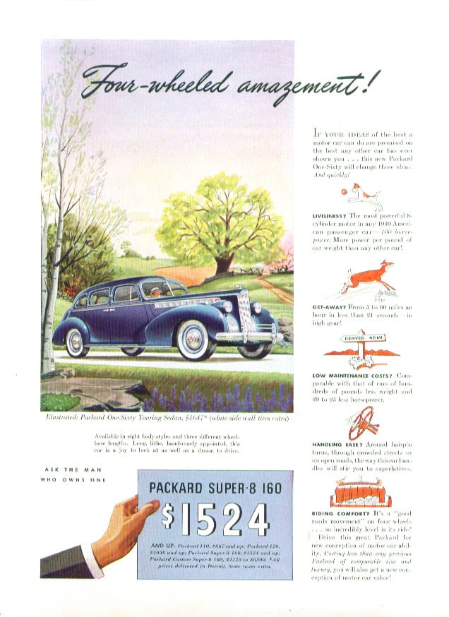 Image for Four-wheeled amazement! Packard Super-8 160 ad 1940