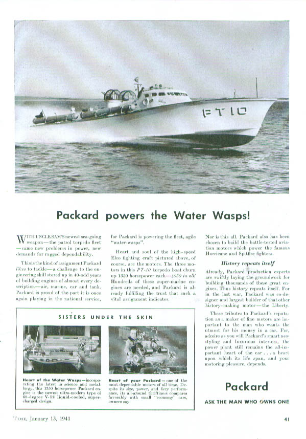 Packard powers the Water Wasps PT boats ad 1941