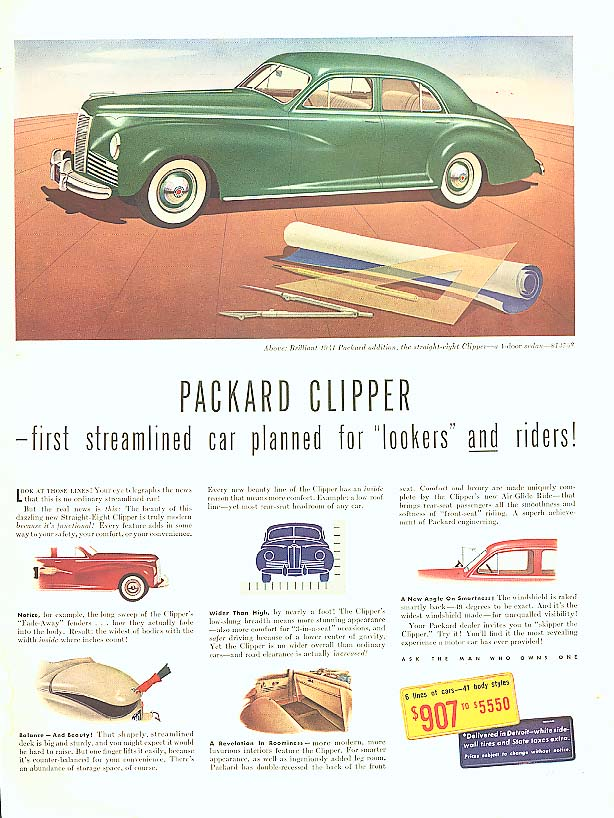 Image for First streamlined car riders Packard Clipper ad 1941