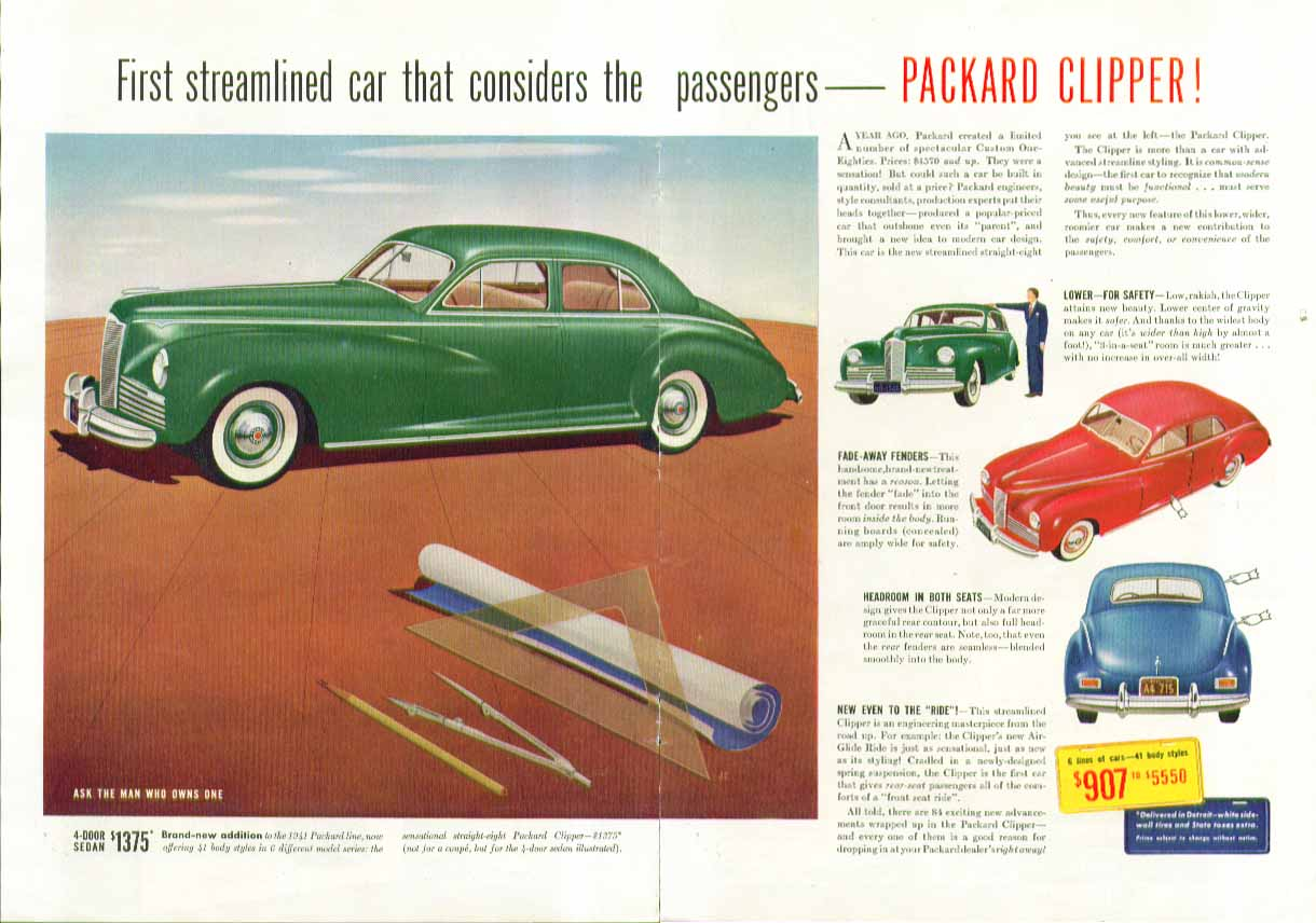 First streamlined car that considers the passengers Packard Clipper ad 1941