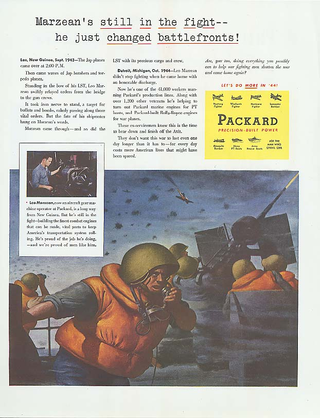 Image for Marzean's still in the fight Packard ad 1944 New Guinea