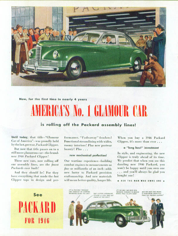 America's No. 1 Glamour Car Packard ad 1946