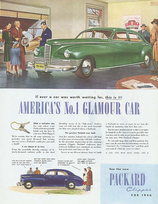 America's No. 1 Glamour Car - Packard Sedan ad 1946