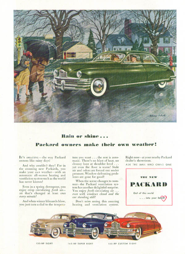 Image for Rain or shine Packard owners make their weather ad 1948