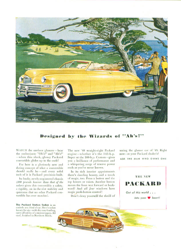 Designed by the Wizards of Ah's! Packard ad 1948