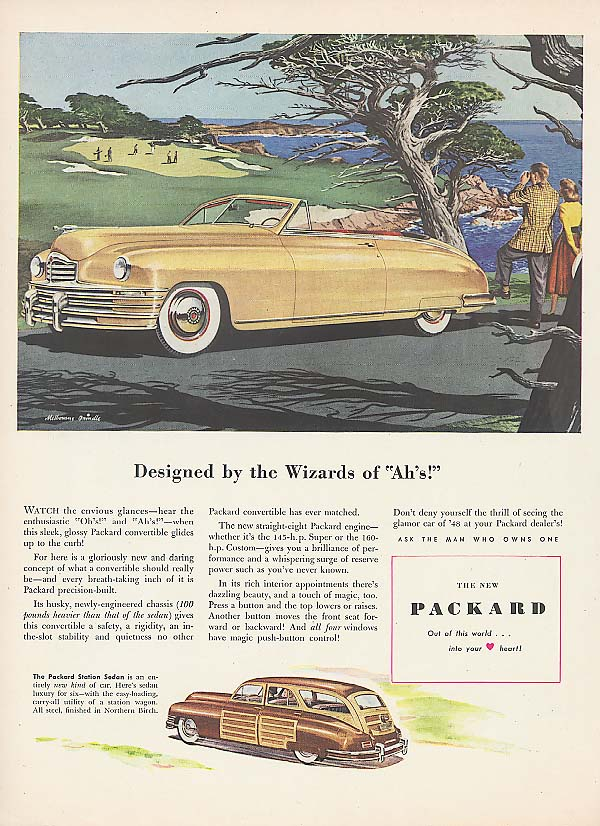 Designed by Wizard of Ah's! Packard Convertible ad 1948