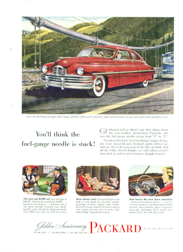 Image for You'll think fuel-gauge needle is stuck Packard ad 1949