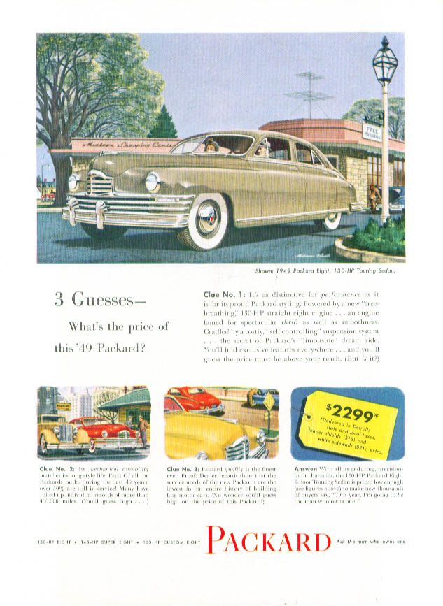Image for 3 Guesses what's the price of this Packard ad 1949
