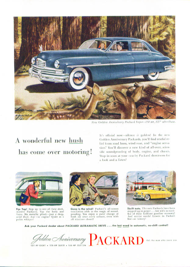 A wonderful new hush has come over Packard ad 1949