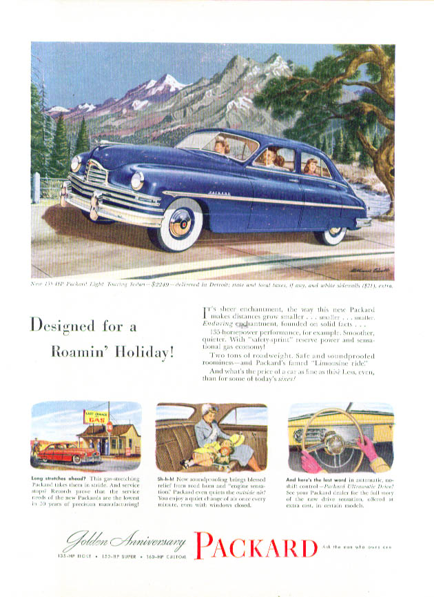 Image for Designed for a Roamin' Holiday! Packard ad 1949