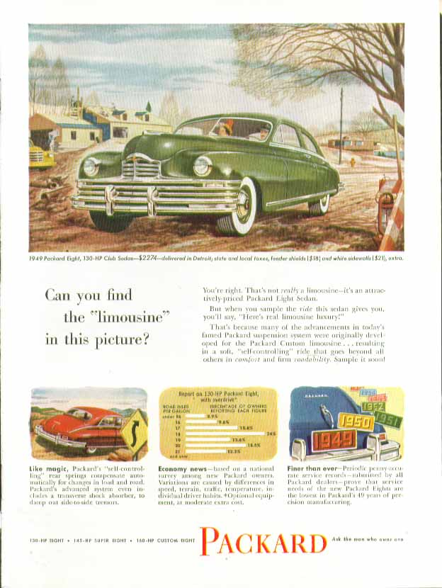 Can you find the &#34;limousine&#34; in this picture? Packard ad 1949