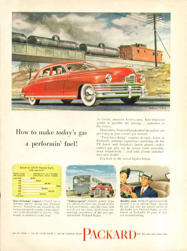 How to make today's gas a performin' fuel! Packard ad 1949