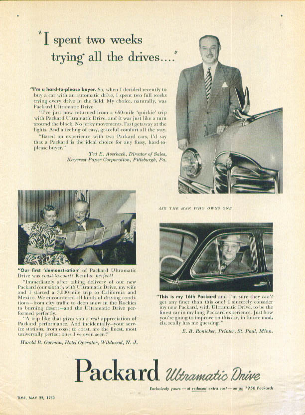 Image for I spent two weeks trying all the drives Packard ad 1950