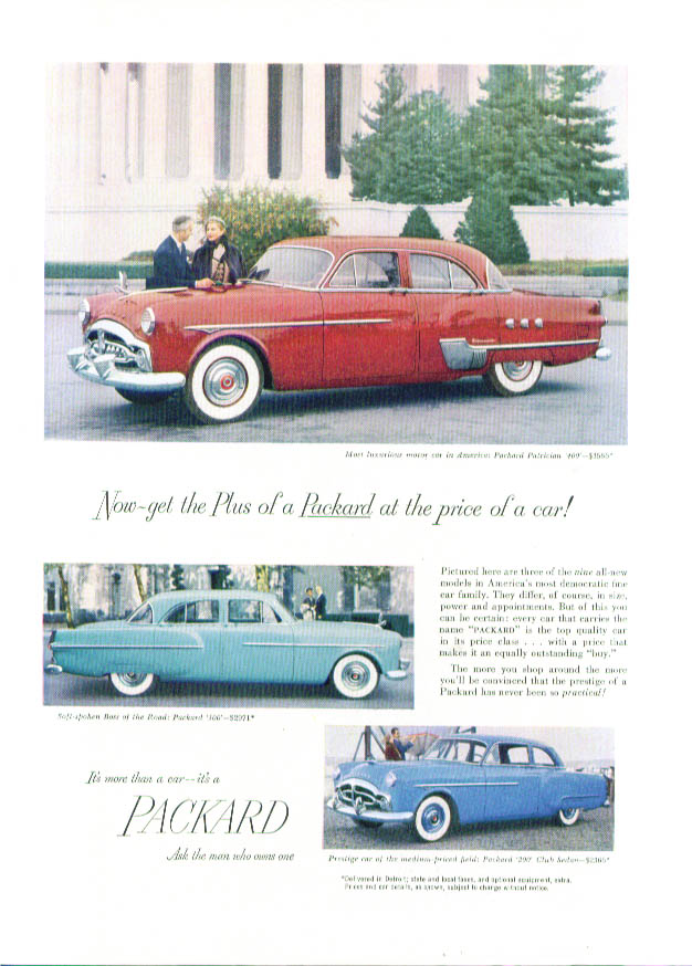 Get the Plus of a Packard at the price of a car ad 1951