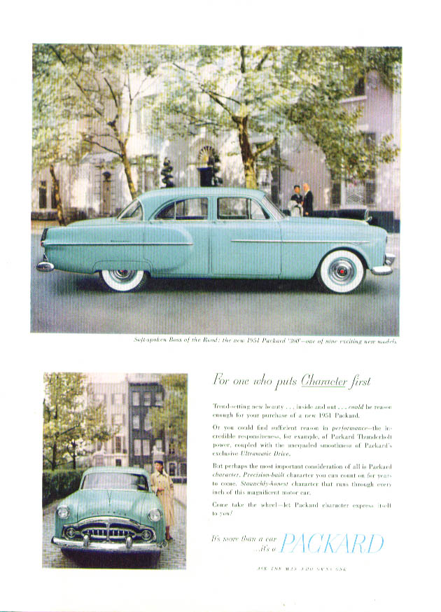 For one who puts Character first Packard ad 1951