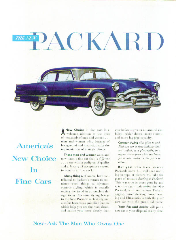 America's New Choice in Fine Cars Packard ad 1953