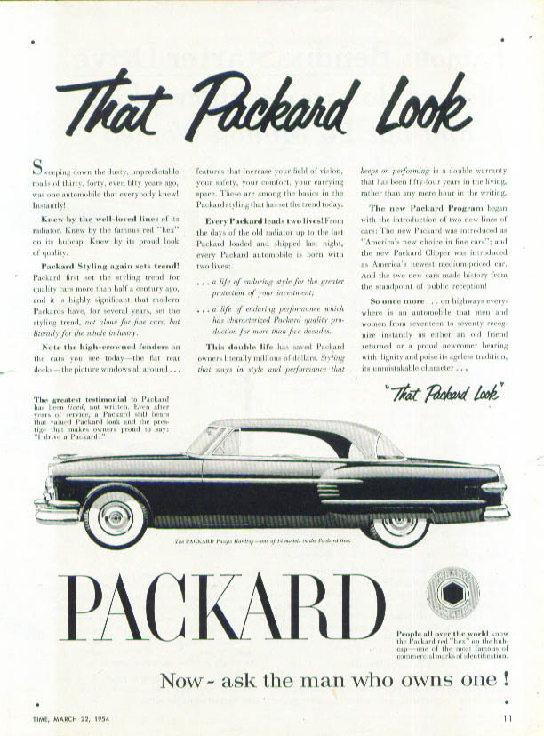 That Packard Look - Pacific Hardtop ad 1954