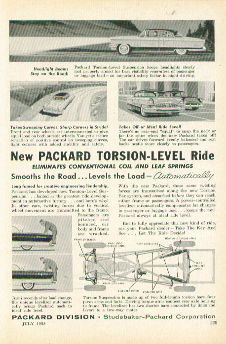 New Packard Torsion-Level Ride ad 1955