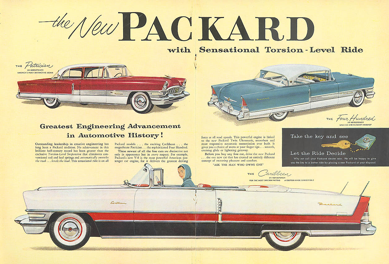 Sensational Torsion-Level Ride in Packard ad 1955