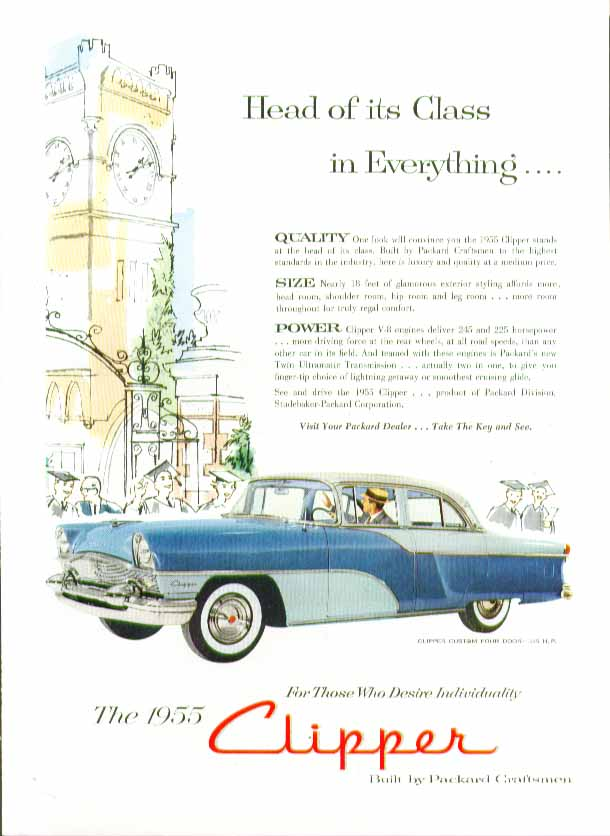 Head of its Class in Everything . . Packard Clipper Custom ad 1955