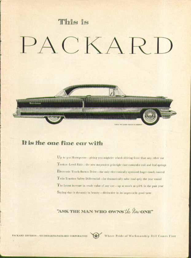 Image for This is Packard - It is the one fine car with up to 310hp ad 1956