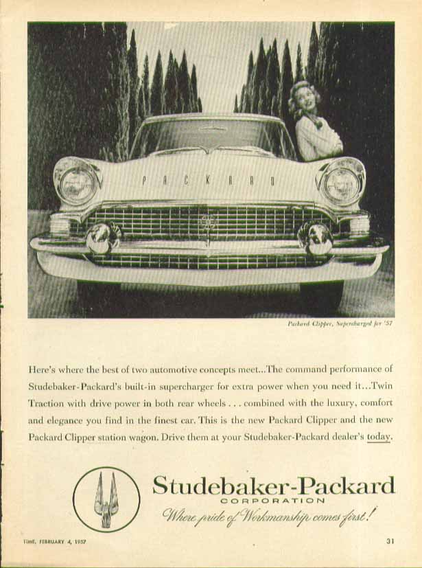 Here's where the best two automotive concepts meet Packard Supercharged ad 1957