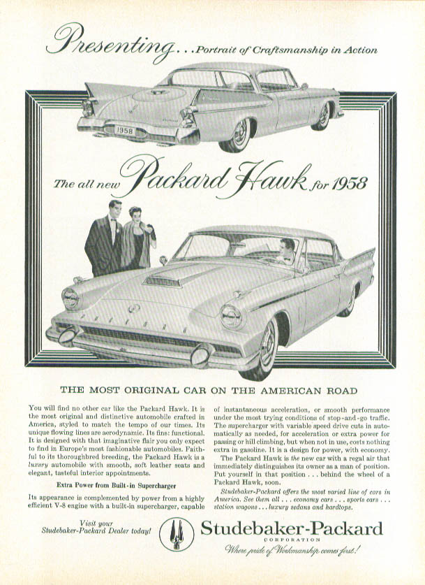 Presenting the all-new Packard Hawk ad 1957