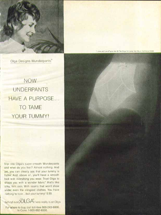 Now underpants have a purpose - to tame the tummy! Olga Wunderpants ad 1974
