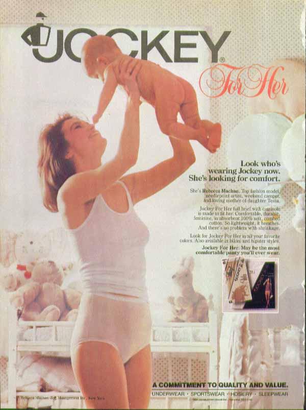 Look who's wearing Jockey now. Jockey for Her Rebecca Machan ad 1984