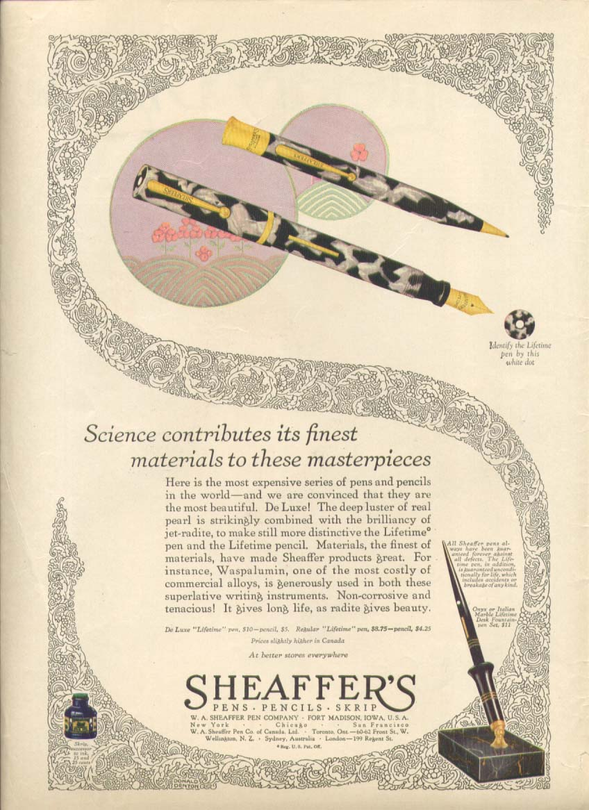 Image for Science contributes materials Sheaffer's pen ad 1928