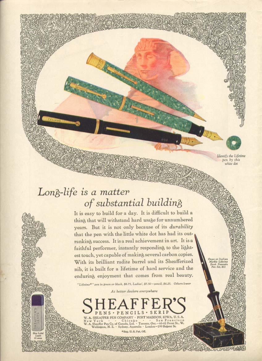Image for Long-life substantial bulding Sheaffer's pen ad 1928