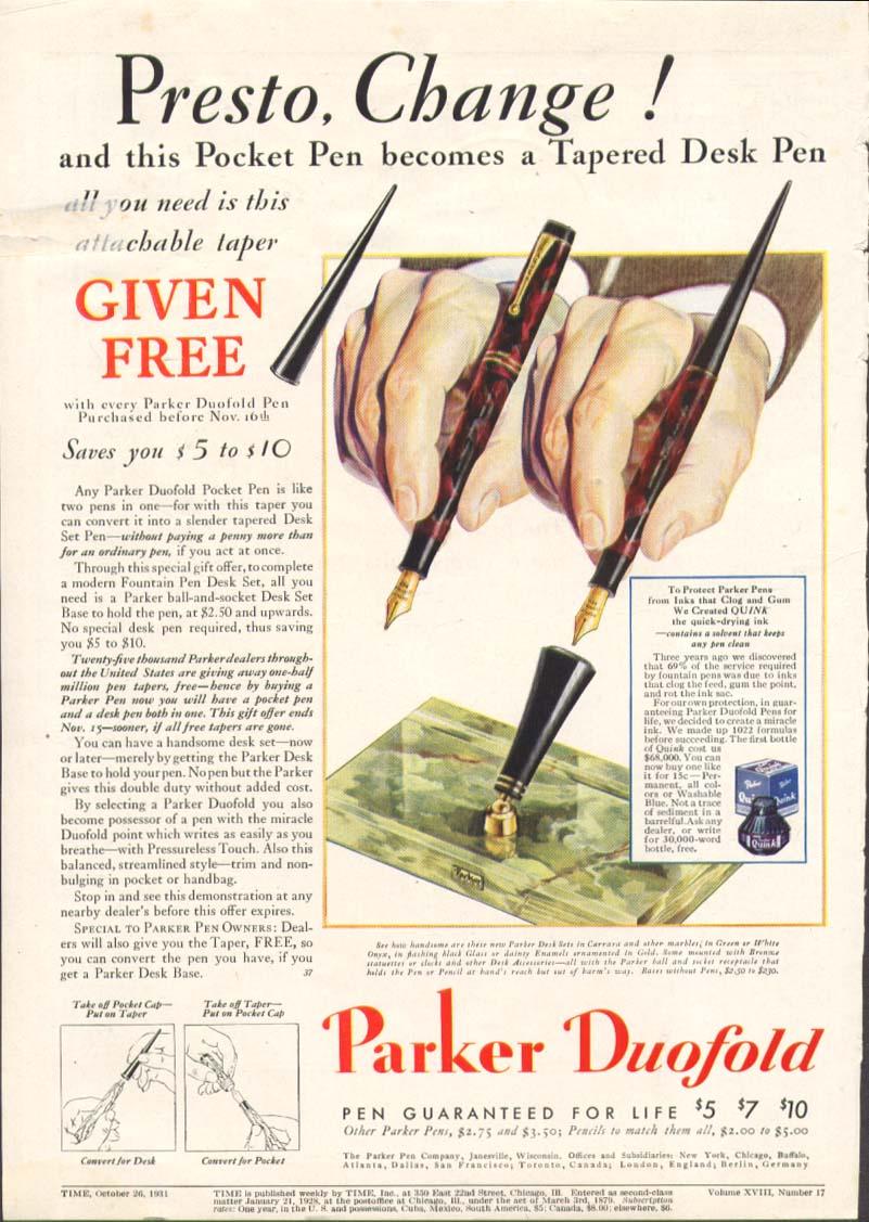 Image for Presto, Change! Parker Duofold pen ad 1931