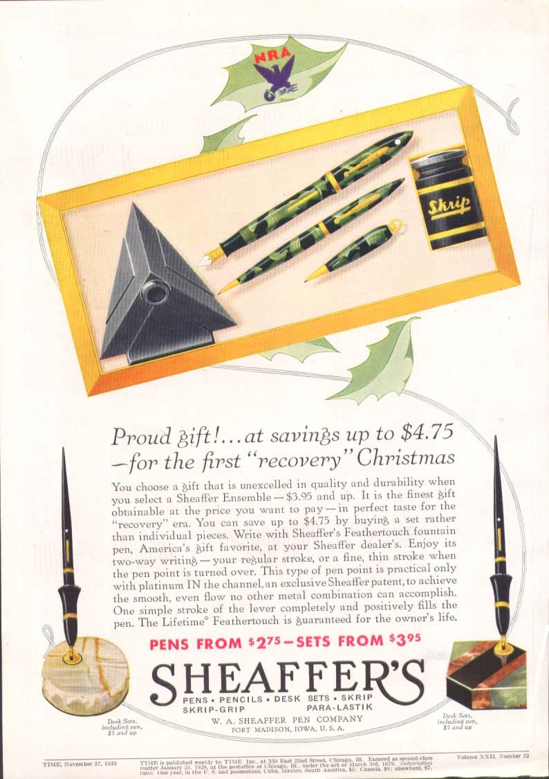 Image for Proud gift savings $4.75 Sheaffer's pen set ad 1933