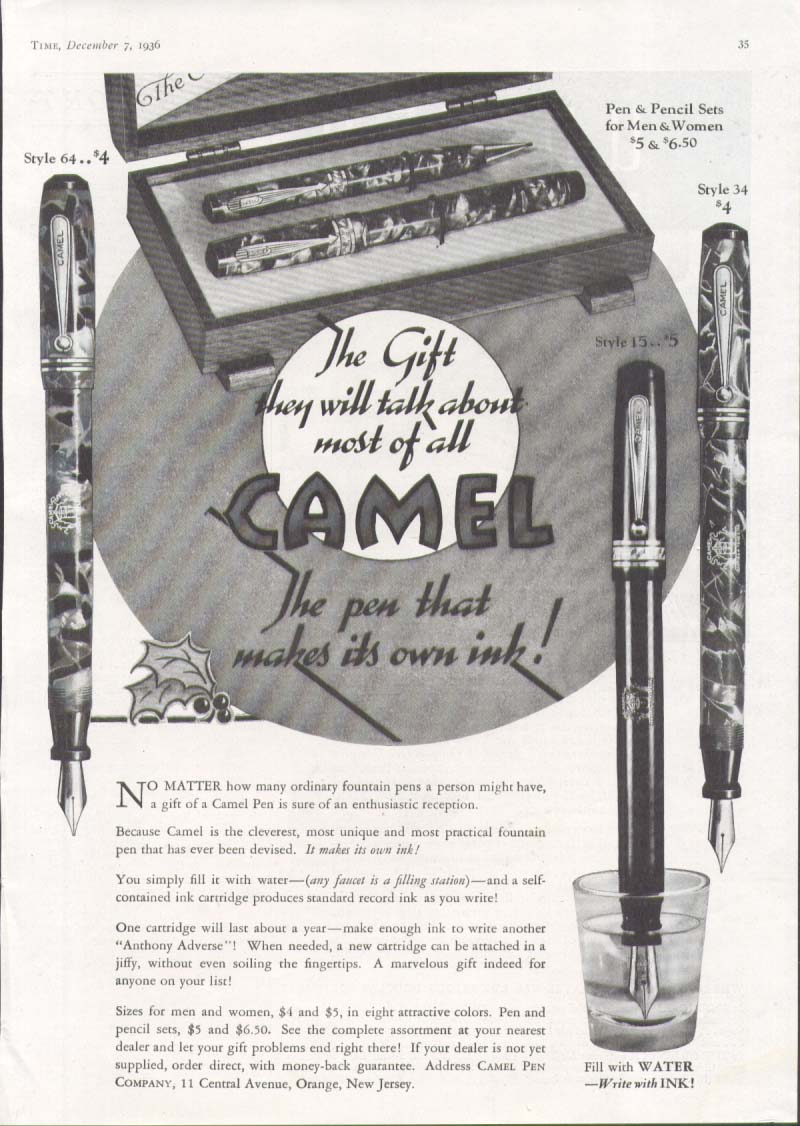 Image for They will talk about most Camel Fountain Pen ad 1936
