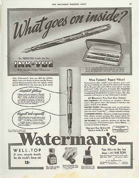 Image for What goes on inside Waterman's Fountain Pen ad 1936