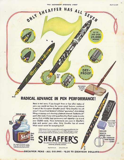 All 7 Radical Advance Sheaffer's Fountain Pen ad 1936