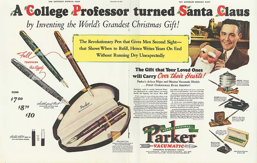 College Professor Turned Santa Claus Parker Pen ad 1937