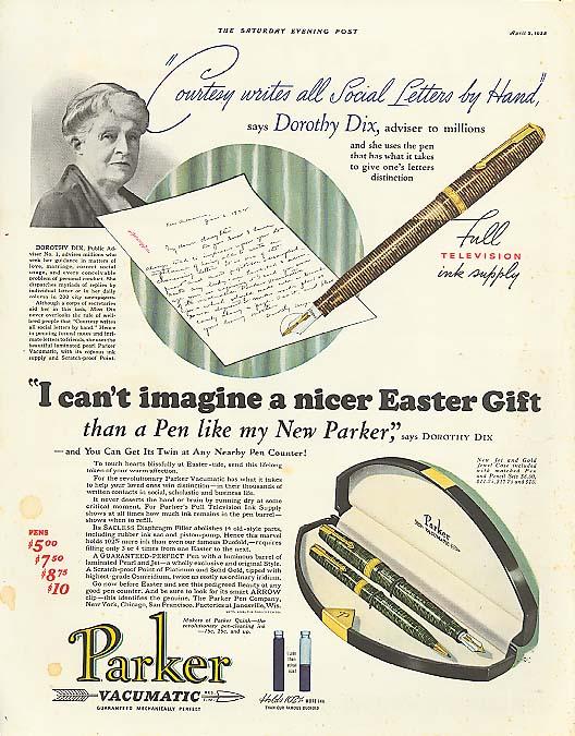 Dorothy Dix a nicer Easter gift Parker Pen ad 1938