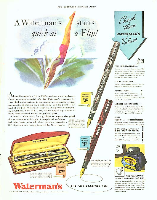 Image for Waterman's starts quick as a flip fountain pen ad 1938