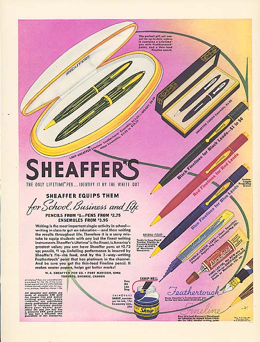 Image for For school, business and life Sheaffer's Pen ad 1939